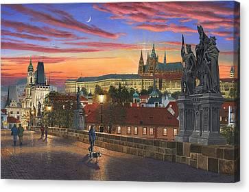 Prague At Dusk Canvas Print by Richard Harpum