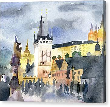 Prague At Night Canvas Print by Lydia Irving