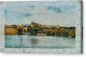 Prague Castle Over The River Canvas Print by Dana Hermanova