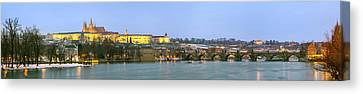 Prague Castle Prask Hrad And Charles Canvas Print by Panoramic Images