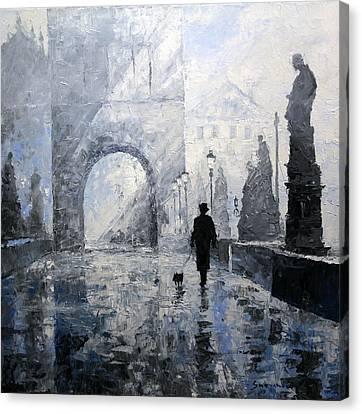 Prague Charles Bridge Morning Walk Canvas Print by Yuriy Shevchuk