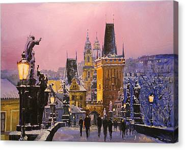 Prague Charles Bridge  Winter Evening Canvas Print by Yuriy Shevchuk
