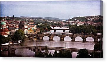 Prague Cityscape - Texture Canvas Print by Barry O Carroll
