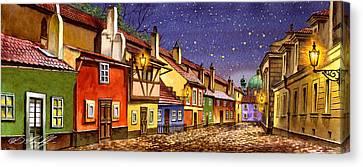 Prague Golden Line Street  Canvas Print by Dmitry Koptevskiy