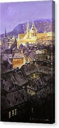 Prague Mala Strana  Night Light  Canvas Print by Yuriy Shevchuk