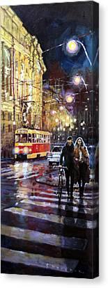 Prague Masarykovo Nabrezi Evening Walk Canvas Print by Yuriy Shevchuk