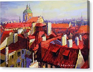 Prague Old Roofs 04 Canvas Print by Yuriy Shevchuk