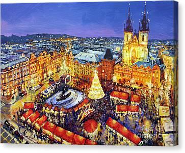Prague Old Town Square Christmas Market 2014 Canvas Print by Yuriy Shevchuk