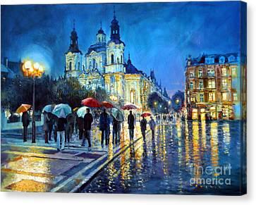 Prague Old Town Square  View Of Street Parizska And St.nicolas Church Canvas Print by Yuriy Shevchuk