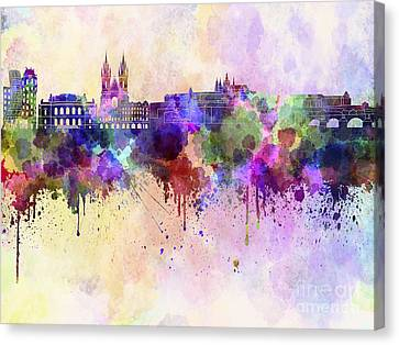Prague Skyline In Watercolor Background Canvas Print by Pablo Romero