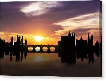 Prague Sunset Skyline  Canvas Print by Aged Pixel