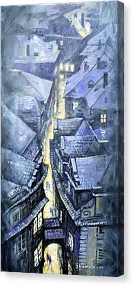 Prague Winter Melantrihova Str Canvas Print by Yuriy Shevchuk