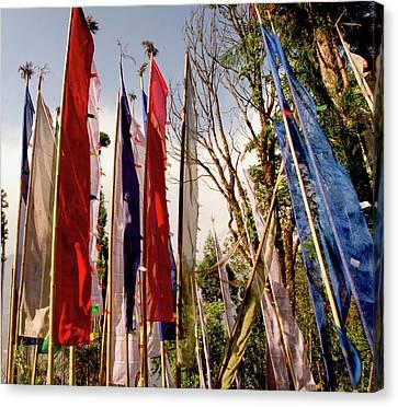 Prayer Flags At A Buddhist Monastery Canvas Print by Jaina Mishra