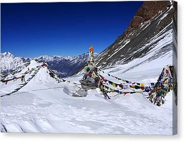 Prayer Flags - Thorung La Pass - Nepal Canvas Print by Aidan Moran