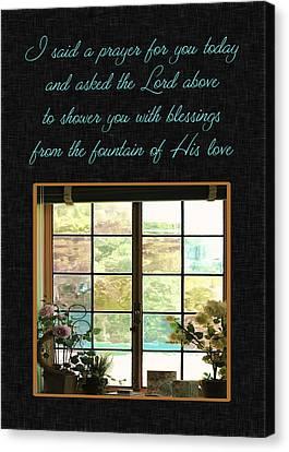 Prayer For You Card Canvas Print by Carolyn Marshall