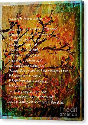Prayer Of St. Francis Of Assisi  And Cherry Blossoms Canvas Print by Barbara Griffin