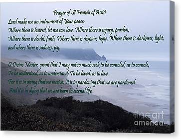 Prayer Of St Francis Of Assisi Canvas Print by Sharon Elliott