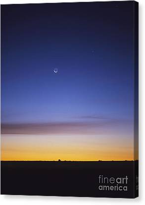 Pre-dawn Sky With Waning Crescent Moon Canvas Print by Alan Dyer