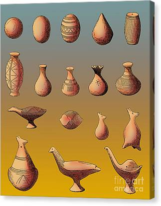 Prehistoric Clay Rattles Bronze Age Canvas Print by Photo Researchers