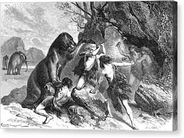 Prehistoric Men Battle Cave Bear Canvas Print by British Library