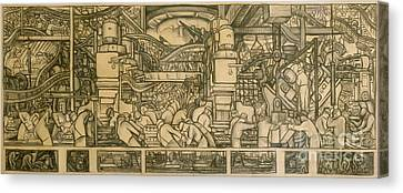 Presentation Drawing Of The Automotive Panel For The North Wall Of The Detroit Industry Mural Canvas Print by Diego Rivera