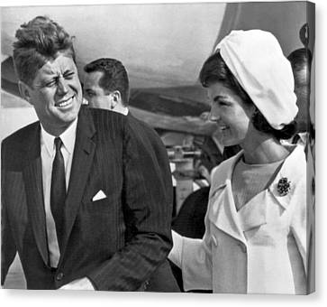 President And Mrs. Kennedy Canvas Print by Underwood Archives