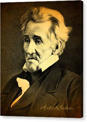 President Andrew Jackson Portrait And Signature Canvas Print by Design Turnpike
