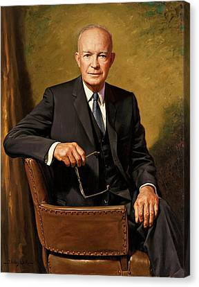 President Dwight D. Eisenhower By J. Anthony Wills Canvas Print by Movie Poster Prints