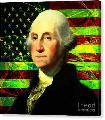 President George Washington V2 P50 Square Canvas Print by Wingsdomain Art and Photography