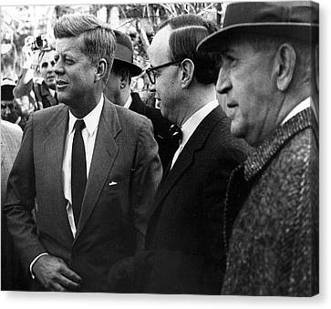 President John F. Kennedy In Group Canvas Print by Retro Images Archive