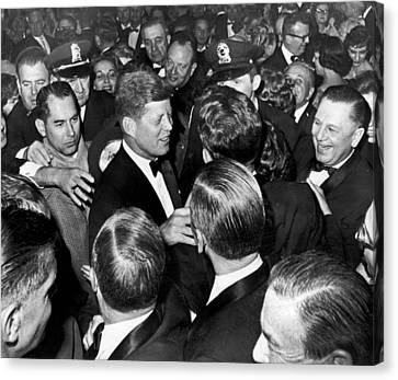 President John F. Kennedy In The Thick Of The Crowd Canvas Print by Retro Images Archive