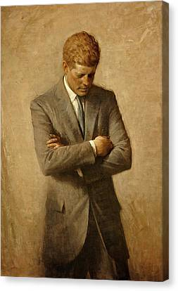 President John F. Kennedy Official Portrait By Aaron Shikler Canvas Print by Movie Poster Prints