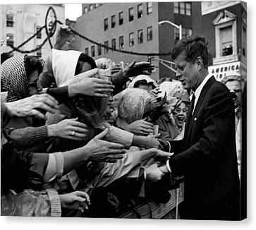 President John F. Kennedy Shaking Hands Canvas Print by Retro Images Archive