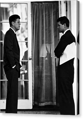President John Kennedy And Robert Kennedy Canvas Print by War Is Hell Store