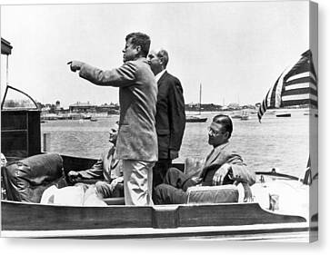 President Kennedy Tour Guide Canvas Print by Underwood Archives