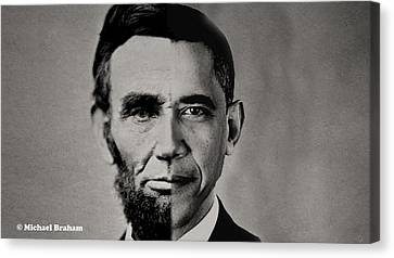 President Obama Meets President Lincoln Canvas Print by Doc Braham