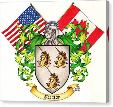 Preston Family Crest Canvas Print by Sheryl Unwin