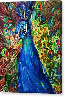 Pretty Peacock Canvas Print by Sherri Trout