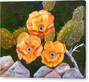 Prickley Pear Cactus Canvas Print by Janis  Tafoya