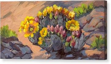 Prickly Pear Cactus In Bloom Canvas Print by Diane McClary
