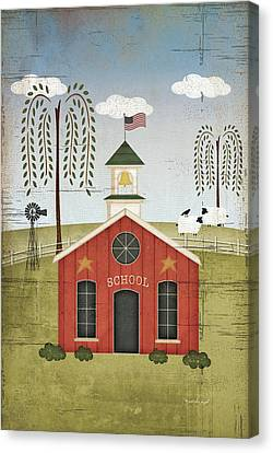 Primitive School Canvas Print by Jennifer Pugh