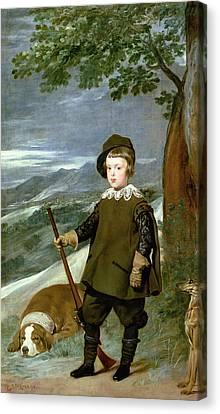 Prince Balthasar Carlos 1629-49 Dressed As A Hunter, 1635-36 Oil On Canvas Canvas Print by Diego Rodriguez de Silva y Velazquez