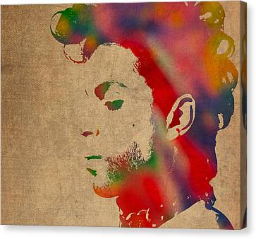 Prince Watercolor Portrait On Worn Distressed Canvas Canvas Print by Design Turnpike
