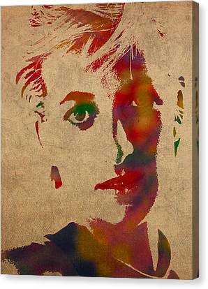 Princess Diana Watercolor Portrait On Worn Distressed Canvas Canvas Print by Design Turnpike