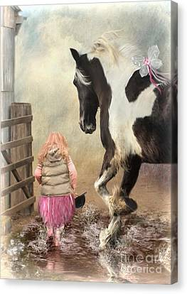 Princess Puddles And Sir Stamp Alot Canvas Print by Trudi Simmonds