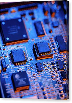 Printed Circuit Board Canvas Print by Mark Sykes