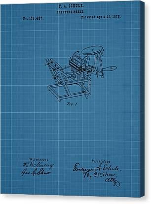 Printing Press Blueprint Patent Canvas Print by Dan Sproul