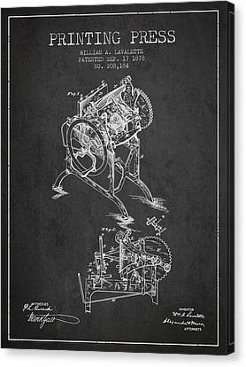 Printing Press Patent From 1878 - Dark Canvas Print by Aged Pixel