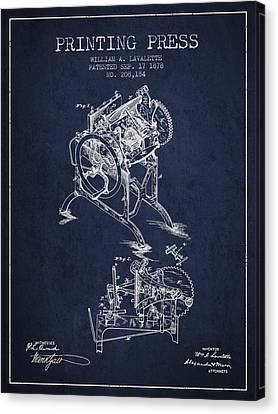 Printing Press Patent From 1878 - Navy Blue Canvas Print by Aged Pixel
