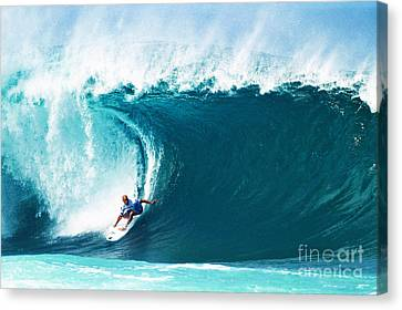 Pro Surfer Kelly Slater Surfing In The Pipeline Masters Contest Canvas Print by Paul Topp